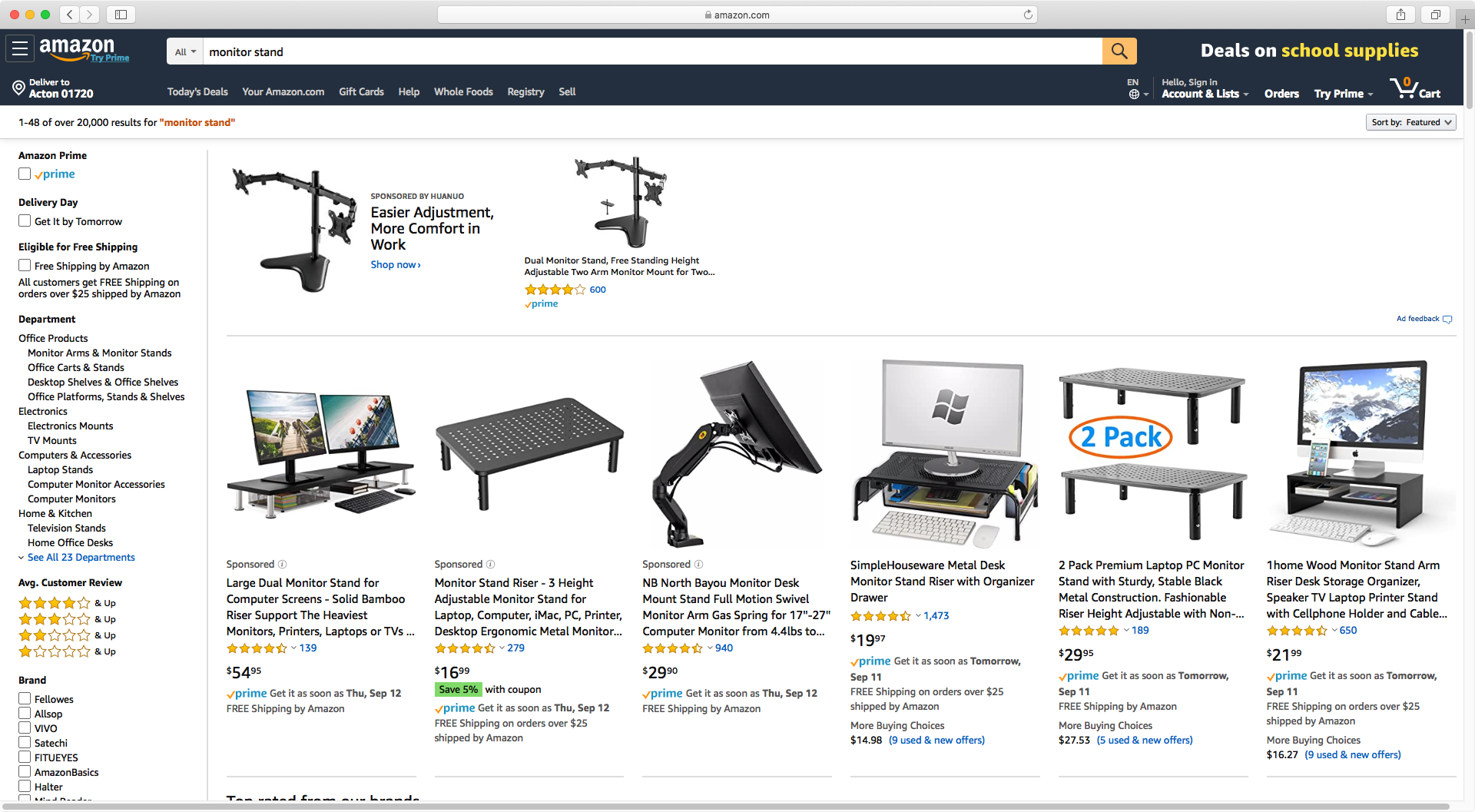 Amazon results for monitor stand